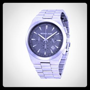 Mk grey face stainless steel Channing watch nwot